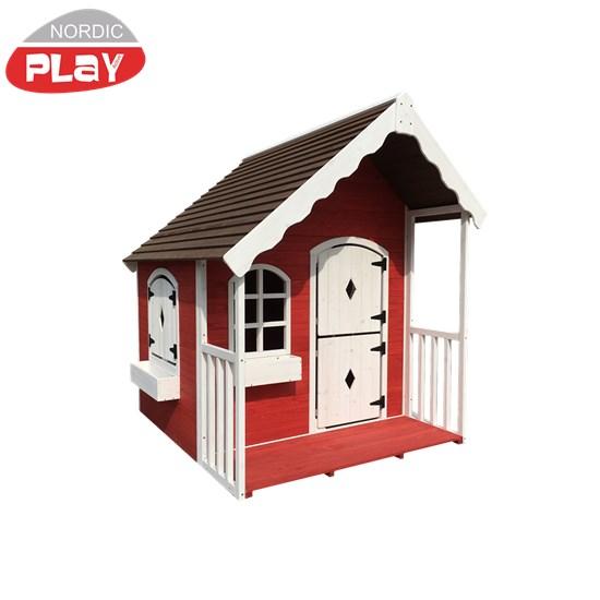 NORDIC PLAY Legehus med veranda rød/hvid