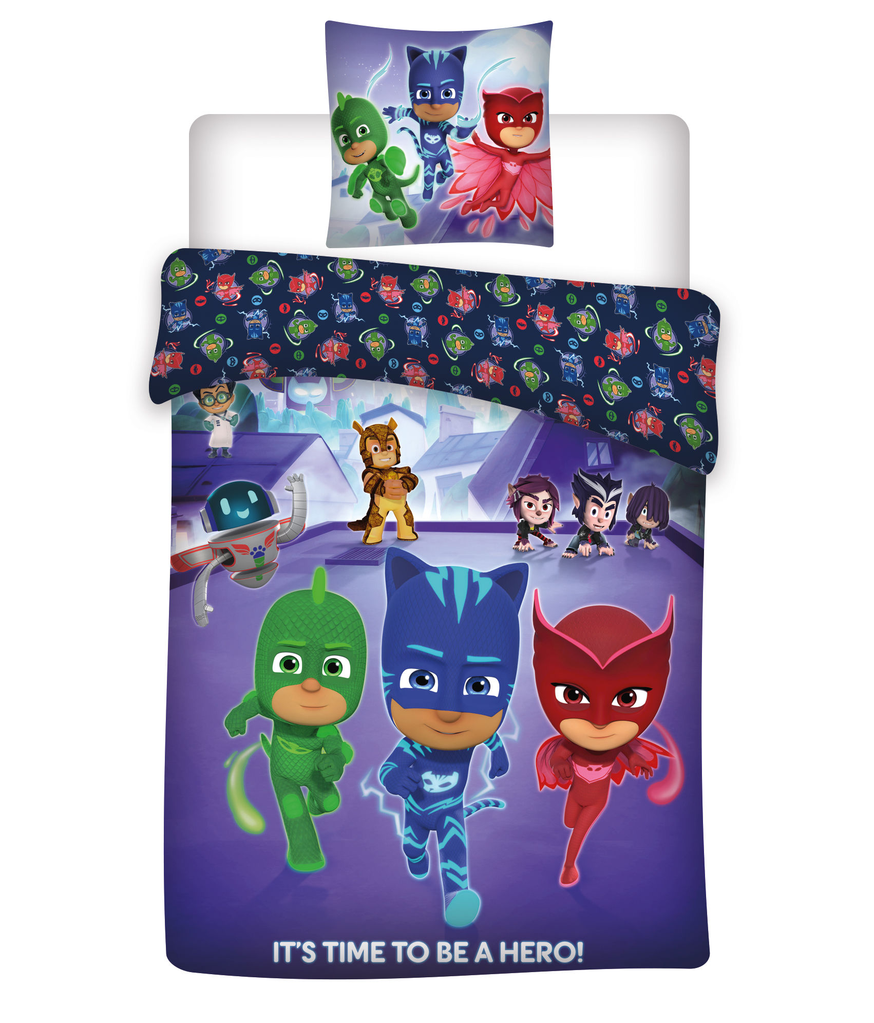 Pyjamas heltene sengetøj - 100x140, 40x45 cm