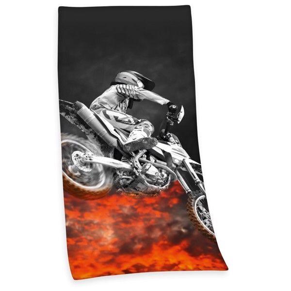 Motocross Dirtbike Badehåndklæde i 100 Procent Bomuld