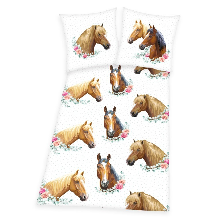 Sødt Heste Sengetøj (100 procent bomuld)