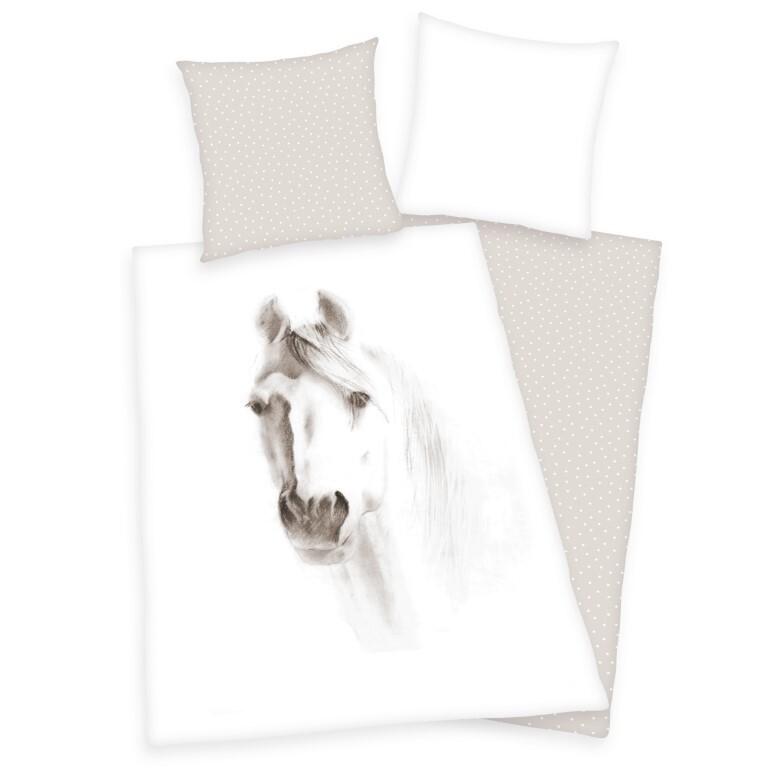 Hvid Hest Sengetøj (100 procent bomuld)