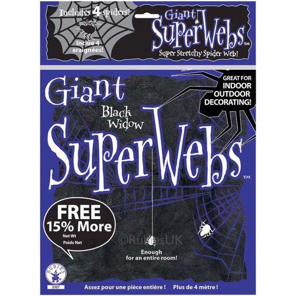 Halloween spindelvæv, Sort Gigant pakke (138g)