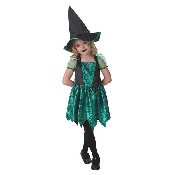 Grøn Edderkop Heks udklædningstøj til børn(Str. 104/S)