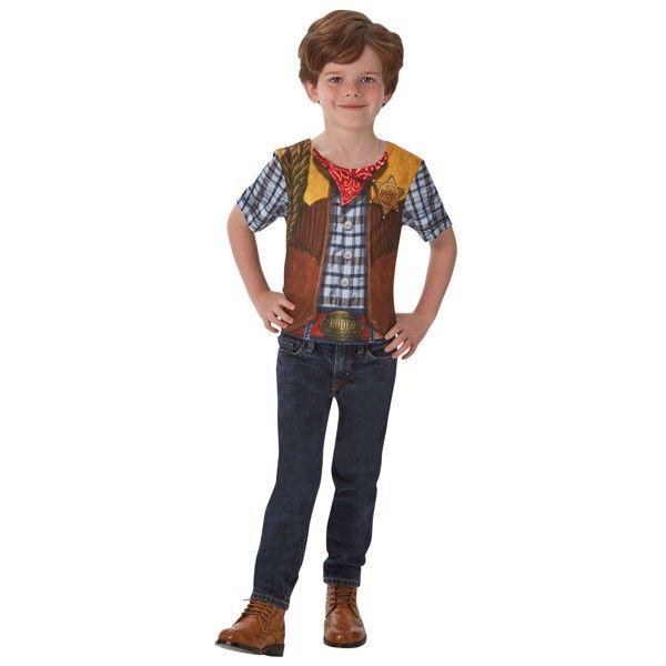 Cowboy T-Shirt udklædningstøj til børn (Str. 104/S)