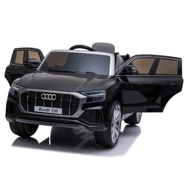 Audi Q8 Elbil til børn 12v Sort m/Gummihjul + 2.4G + Lædersæde