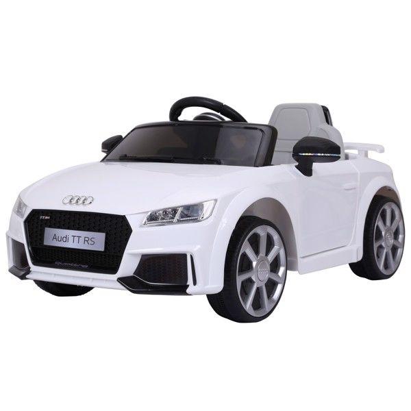 Audi TT RS ELBil til børn 12V m/Gummihjul og 2.4G Fjernbetjening, Hvid