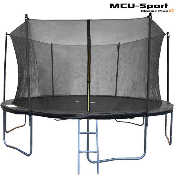 MCU-Sport Classic Plus V2 4.3M Trampolin + Sikkerhedsnet + Stige Sort